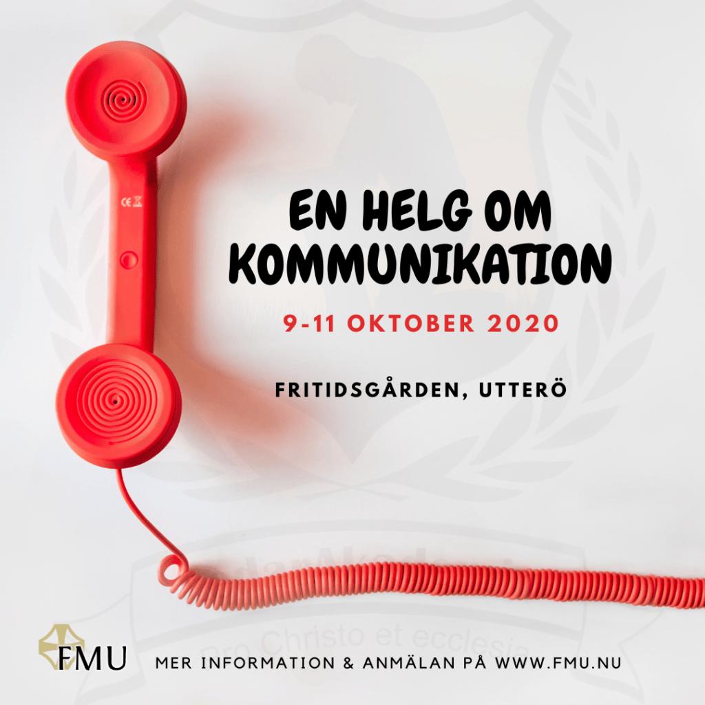 """En plansch med en telefon på där det står """" En helg om kommunikation"""" 9-11 oktober 2020. Fritidsgården, Utterö. Anmäl dig via denna länk:  https://docs.google.com/forms/d/e/1FAIpQLSfuQEU1L0DELkUrPHQj9r09ebRAoL_qlgdiBTBQ_coJB_zM1w/viewform"""